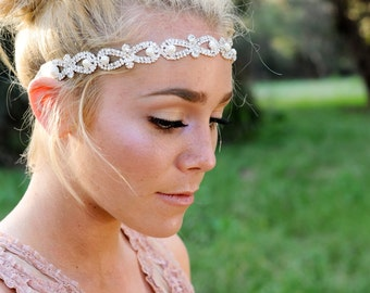 Crystal Headband, Bridal Headband, Vintage Headband, Wedding Hair Piece, Bridal Headpiece , Headpiece, Beaded Headband,  Crystal Hair Piece