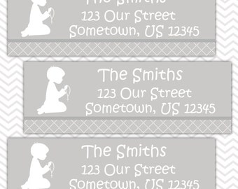 Kneeling Boy Grey Baptism Christening First Holy Communion  - Personalized Address labels, Stickers