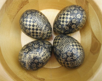 Black and Gold Decoupage Chiyogami Yuzen Paper Easter Eggs Paper Mache: Set of Four