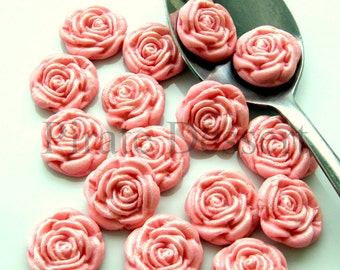 PINK FONDANT ROSES  Cupcake Toppers -Sugar flowers- half inch (12mm) Pink Roses - Edible cake decorations Flower cupcakes (Pink) (12 Pieces)