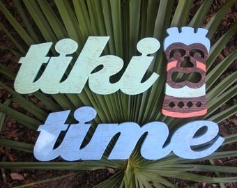 tiki time, tiki bar, polynesian, hawaii tropical island, word wood sign, beach cottage, distressed, shabby chic