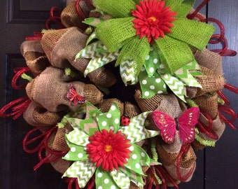 Spring Summer Wreath Burlap