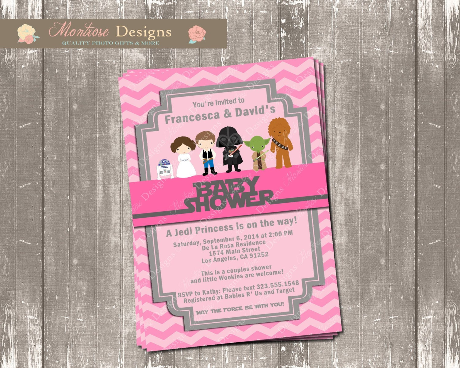 pink chevron star wars baby shower invitation welcome jedi
