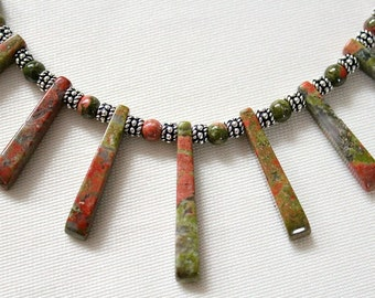 Unakite Bali Sterling Silver Fan Necklace,Natural Stones,Healing Stone,Unakite Jewelry,Retirement Gifts,50th Birthday Gift for Mom,Unique