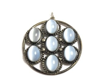 Milky Glass Round Pendant - Vintage - Silver Tone - REDUCED