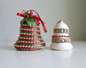 Christmas Tree Ornament / Bauble / Decor - Bells, Beaded Textile - Red, Green, Gold, White - 1970's Holiday Decor