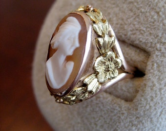 10K Yellow Gold Cameo Ring - Antique Cameo Gold Ring - 1920's Cameo Ring
