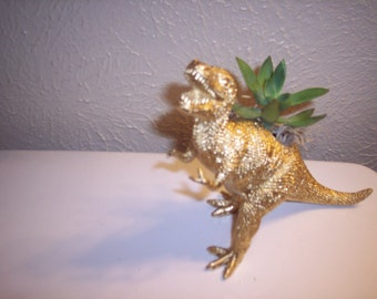 Gold Painted Dinosaur Planter Plastic Toy and Planted with  Assorted Succulents