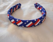 Patriotic July 4th woven headband for American Girl and other 18 inch dolls
