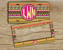 Personalized monogrammed license plate or frame - Aztec monogrammed car tag - Tribal hot pink monogram - Monogram bike tag plate cute (9887)