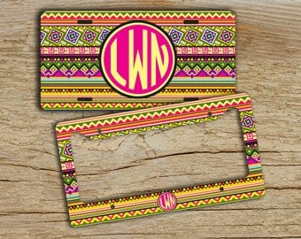 Personalized monogrammed license plate or frame , Aztec monogrammed car tag , Tribal hot pink monogram, Monogram bike tag plate cute  (9887)