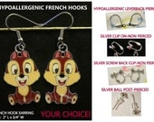Chipmunks Earrings - Chipmunk Charm Earrings -CHOICE- Steel Hypoallergenic French Hook Leverback Post Pierced OR Clip On