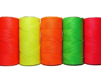 Neon Cord Fluorescent * Macrame Cord * Waxed Polyester * Micro Macrame* Linhasita * Set of 5 Colors - 10 meters each color - NEON