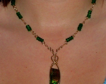 14K GF Chain Green Quartz and Link  Necklace with Wire Wrapped Canadian Ammolite Pendent