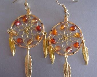 Dream Catcher Earrings ~ Gold with Carnelian Gemstones