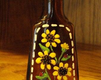 SUNFLOWERS & LADYBUGS Hand Painted Vintage Vanilla Bottle