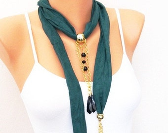 SALE Green Suede Fabric scarf Necklace with gold plated elements -