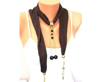 SALE Brown Suede Fabric scarf Necklace with gold plated elements -