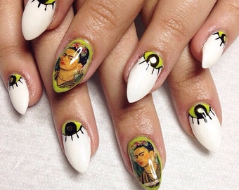 Nail Decals  Frida Kahlo with Picasso Hand Earring