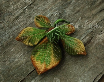 Green Chesnut Felted Brooch - made to order