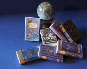 Dollhouse Miniature set of 7 blue books