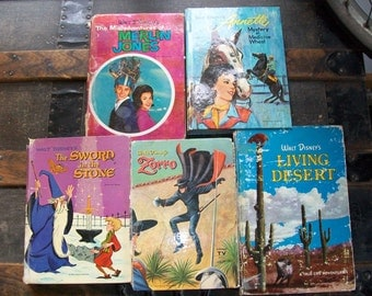 Vintage Set of Walt Disney Books from 1950's & 1960's - Instant Shabby Chic Collection - Zorro, Sword in the Stone, Merlin Jones, Annette