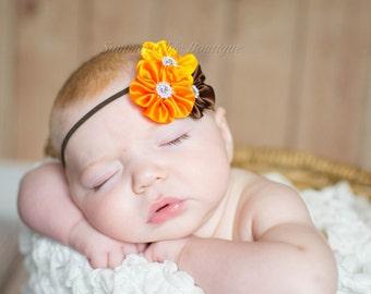 Fall Baby Headband, Infant Headband, Newborn Headband, Toddler Headband -Fall Satin Flower Cluster