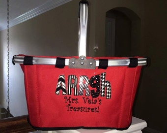 Collapsible Market Totes FREE Personalization Monogram Teacher Appreciation gift