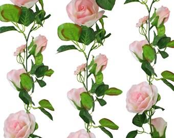 Pink Silk Rose Garland - Wedding Decoration