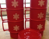 6 Vintage Christmas Red Tupperware Snowflake Mugs with 6 Coaster/Lids