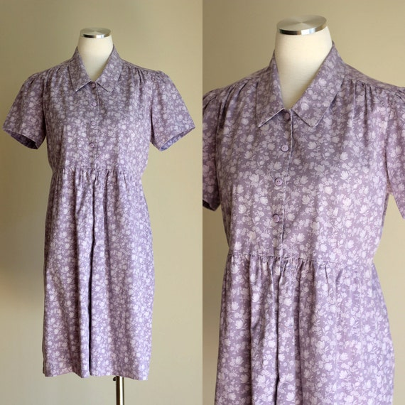 Vintage 90s Short Sleeve Dusty Purple Floral Print Dress - Pastel Soft Grunge Cotton Button Front Shirt Dress - Size Small / Medium / Large