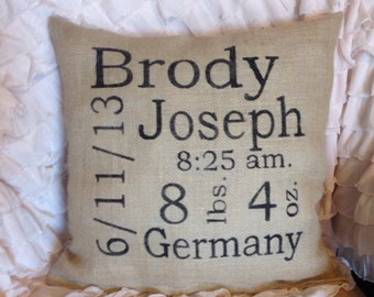 Custom baby subway pillow, baby pillow, baby gift, nursery pillow, personalized pillow baby boy