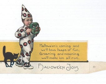 Vintage Halloween Boy with Halloween Mask in Clown Costume Stand-Up Place Card 1930s Halloween Decor