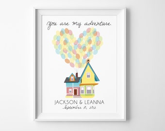 """Disney UP Wedding Wall Art - Personalized """"You Are My Adventure"""" Greatest Adventure Nursery or Wedding with Carl and Ellie's House"""