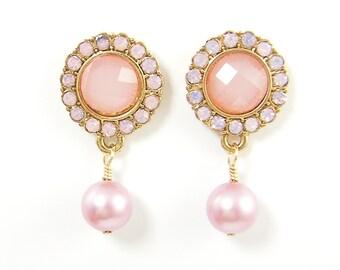 Pink Pearl and Rhinestone Drop Earrings