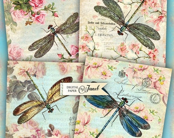 Dragonfly Coaster - 4 x 4 inch - set of 4 cards - digital collage sheet