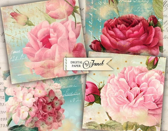 OLD coaster 1 - 4 x 4 inch - set of 4 cards - digital collage sheet