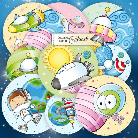 small astronaut - 2.5 inch circles - set of 12 - digital collage sheet - pocket mirrors, tags, scrapbooking, cupcake toppers
