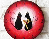 The Love Black Cats Wall Clock (Pink)