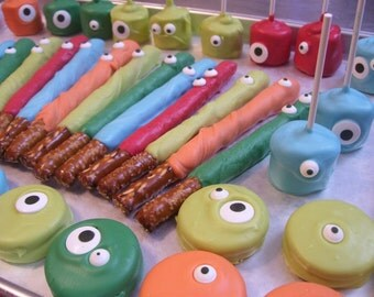 Monster Eyes Chocolate Covered Pretzel Rods Marshmallow Pops or Oreos or Oreo Pops with or without Sugar Crystals 1 dozen