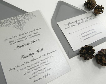Icy Silver Snowflake Wedding Invitation Set- Style 076