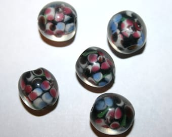 5 Black Round Floral Lampwork Beads