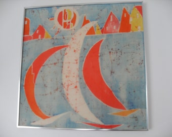 Vintage Mid Century Framed BATIK Art Sailboats Signed
