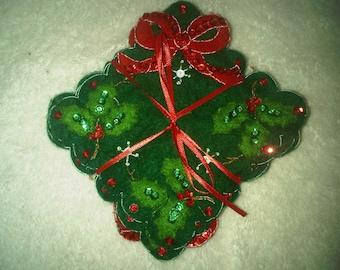 Set of 4 Felt Applique Christmas Coasters