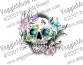 digital download sugar skull flowers clip art decal tattoo day of the dead