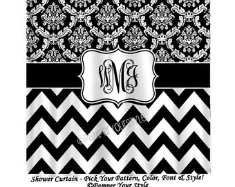 Black and White - Chevron and Damask Personalized Shower Curtain, Custom Monogrammed Curtain - Name Shower Curtain