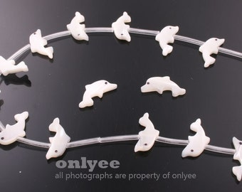 4pcs-14mmX7mm Hand Carved White Mother of Pearl Dolphin Beads(J116)