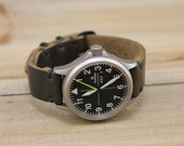 Leather Watch Strap Horween Leather Black Chromexcel PVD Hardware