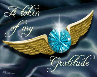 Elegant Thank You Note Card With Jewel: Earned Wings