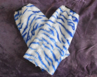 White and Blue Tiger Fluffies Leg Warmers
